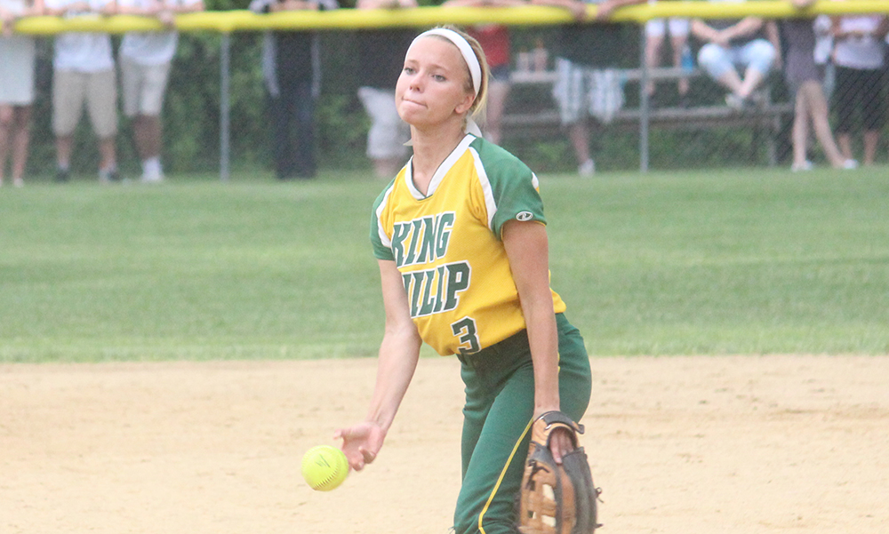 The 2015 HockomockSports.com Softball Player of the Year Kali Magane is back in the circle this year for King Philip. (Ryan Lanigan/HockomockSports.com)