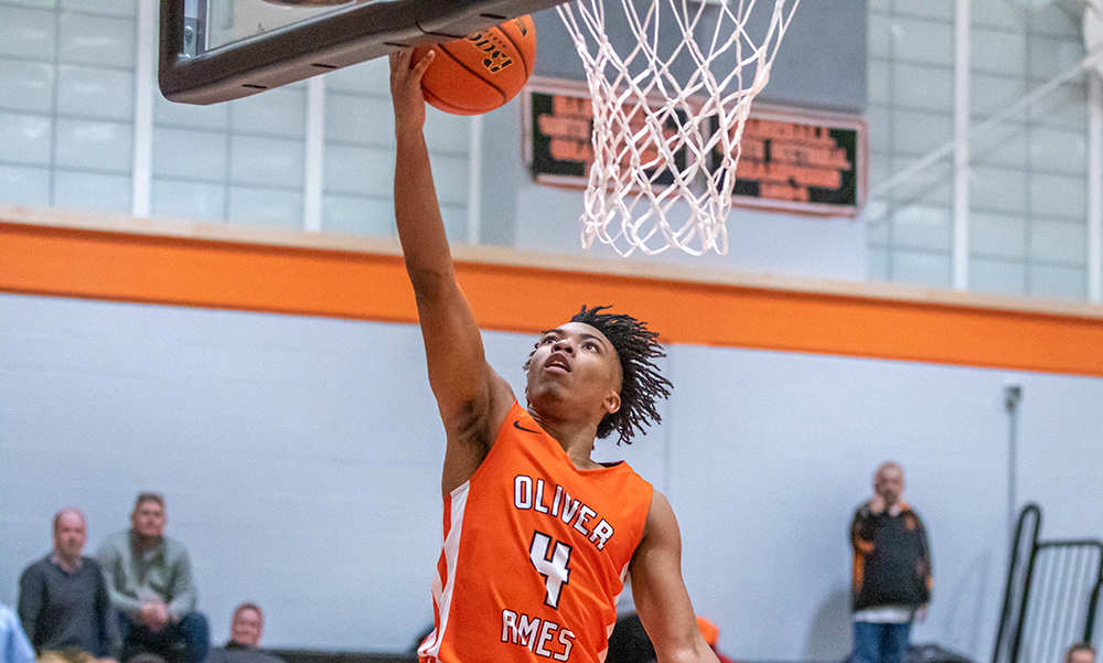 Oliver Ames boys basketball Amari Brown