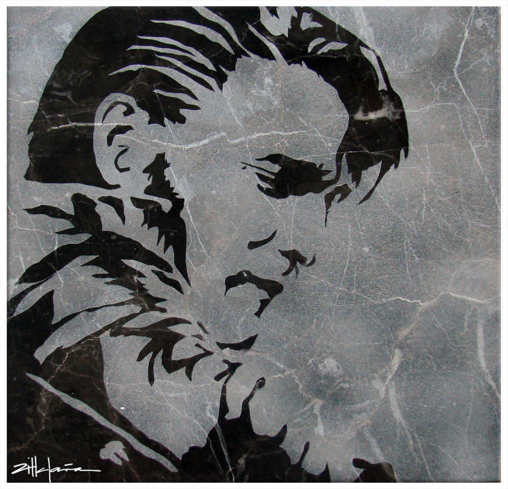 "Original Art, Elvis Presley (sand blast) Marble Stone Art ""Elvis"" by Marcy Ann Villafaña"