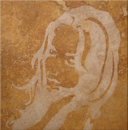 "Original Art , Female Figure in Travertine(sand blast ""After"" by Marcy Ann Villafaña"