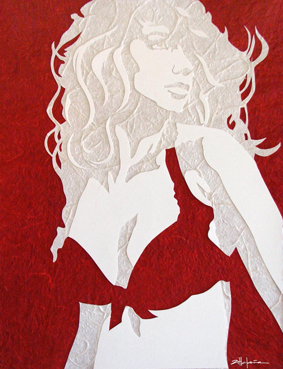 "Original Art , Female Figure in Mixed Media (handmade paper on paper) ""CRIMSON"" by Marcy Ann Villafaña"