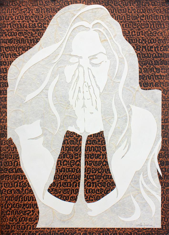 "Original Art , Female Figure in Mixed Media (handmade paper on paper) ""Forgiveness"" by Marcy Ann Villafaña"