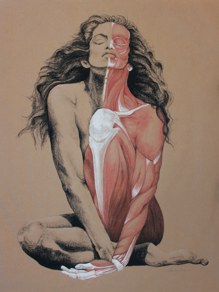 "Original Art, Nude Art Female - Charcoal - Graphite, conte, pastel drawing ""SKIN DEEP"" by Marcy Ann Villafaña"