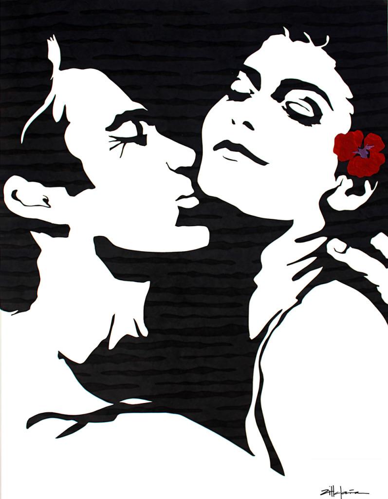 "Original Art , Couple, in Mixed Media (handmade paper on paper) ""Embrace"" by Marcy Ann Villafaña ""EMBRACE"""