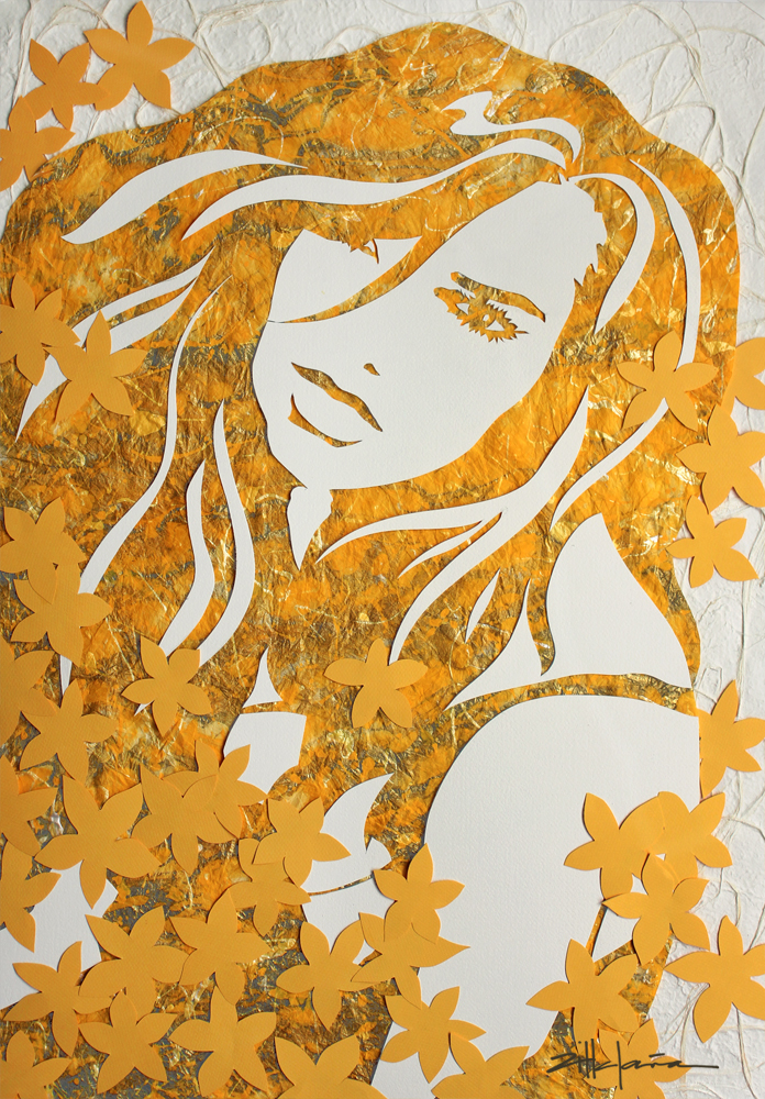 "Original Art, Female Figure in Mixed Media (handmade paper on paper) & metallic paint ""Little Yellow Flowers"" by Marcy Ann Villafaña 38"" x 30"" x 1 1/2"""
