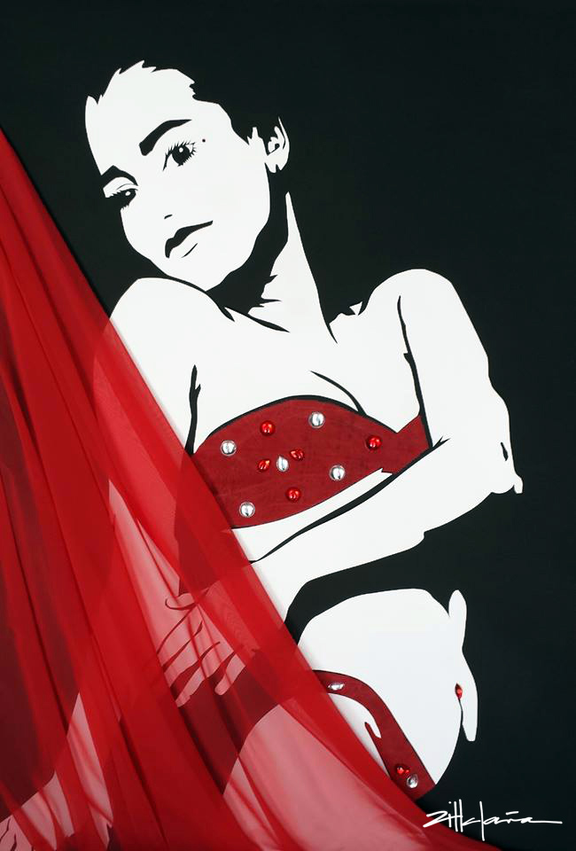 """Original Art , Female Figure in Mixed Media (handmade paper on paperwith fabric & gems) """"the SWING"""" by Marcy Ann Villafaña"""