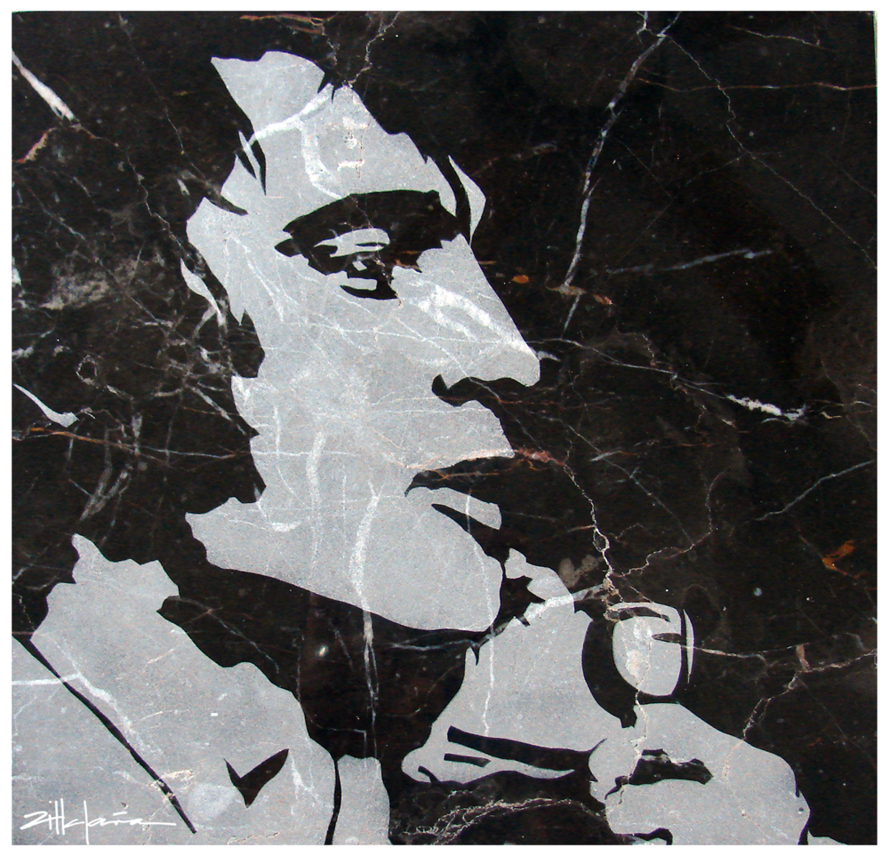 "Original Art, Elvis Presley (sand blast) Marble Stone Art ""the KING"" by Marcy Ann Villafaña"
