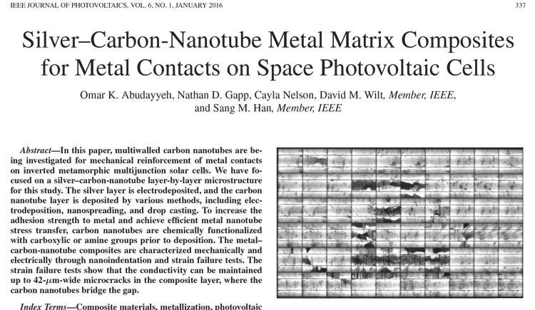 Silver–Carbon-Nanotube Metal Matrix Composites for Metal Contacts on Space Photovoltaic Cells