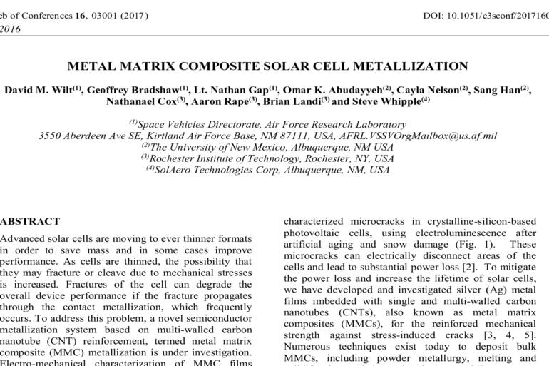 METAL MATRIX COMPOSITE SOLAR CELL METALLIZATION