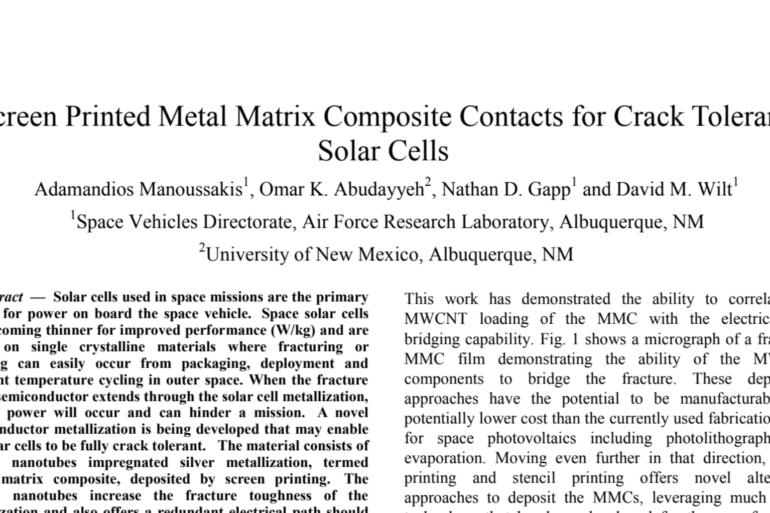 Screen Printed Metal Matrix Composite Contacts for Crack Tolerant Solar Cells