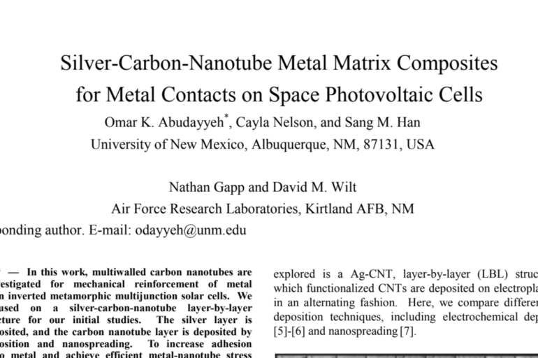 Silver-Carbon-Nanotube Metal Matrix Composites for Metal Contacts on Space Photovoltaic Cells