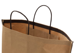 Paper Bag with Edge Fold and brown cord handles