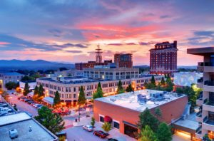 Asheville, NC - Aerial View of Downtown
