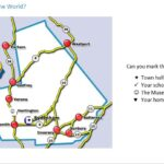 Answer key for where in the world game. School house and town hall labled
