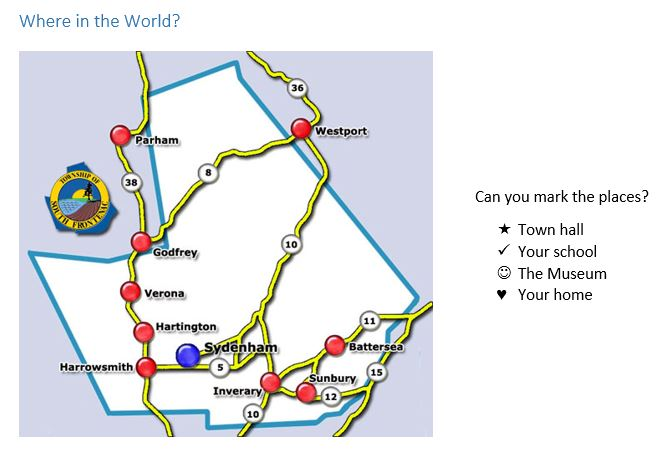 A map of the township with instructions to place markers on townhall, the school house, your home and your school