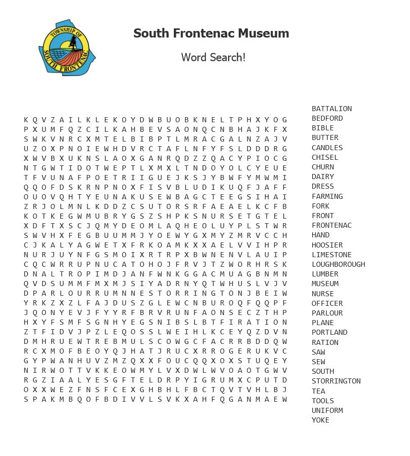 A South Frontenac word search