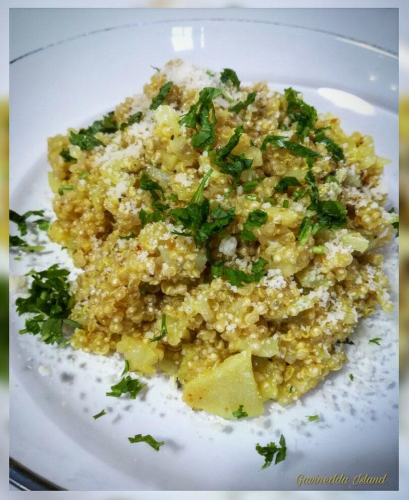 Quinoa con topinambur