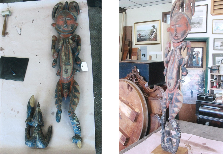 Ethnographic carving gets leg reattached