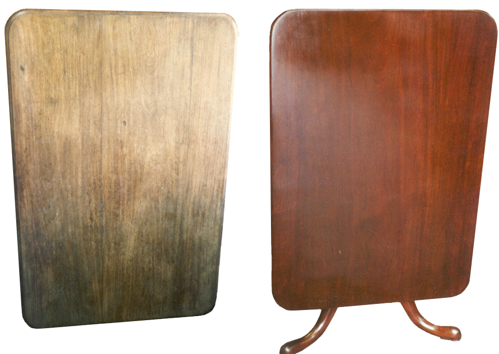 This eighteenth century mahogany tilt top table was restored with traditional French polishing techniques.