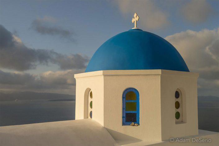 Morning Light On Dome, Santorini