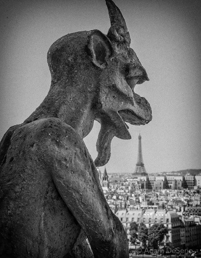 Notre Dame Figure Eating Eiffel, Paris