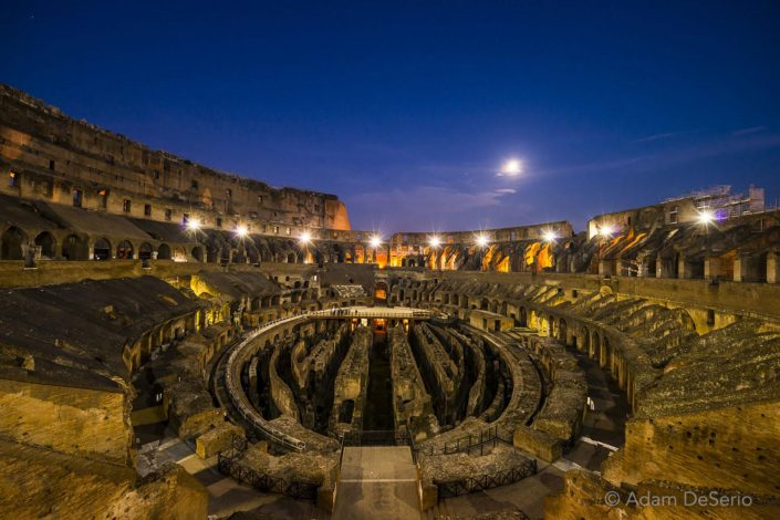 Colosseum Inside At Night, Rome, Italy