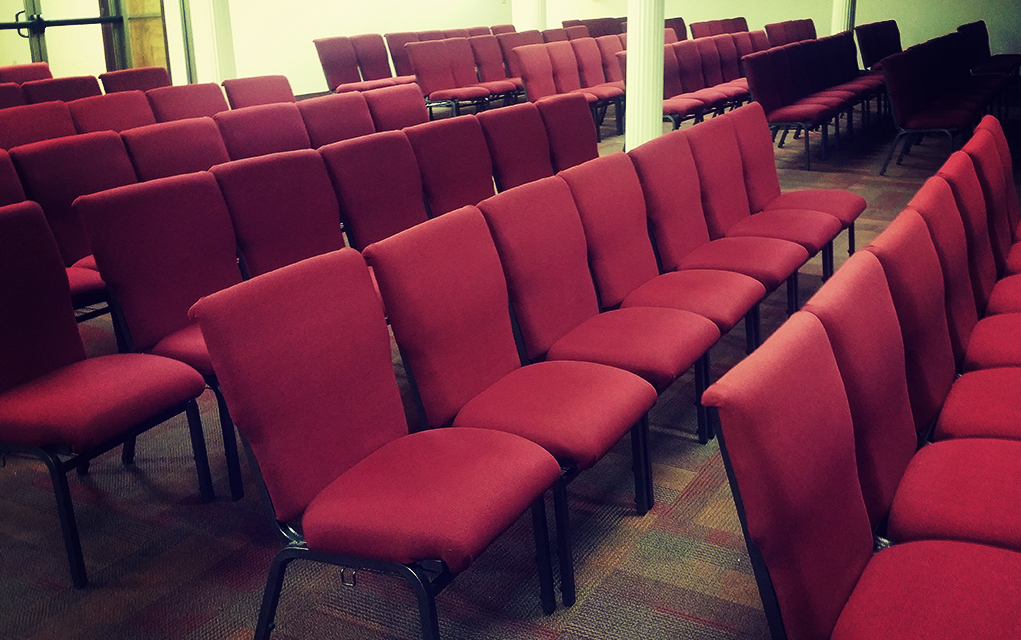 photo of empty chairs at church