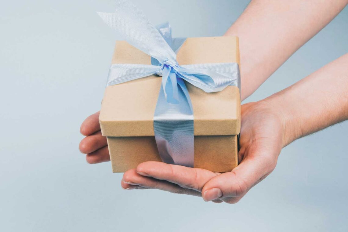 photo of a gift in a person's hands