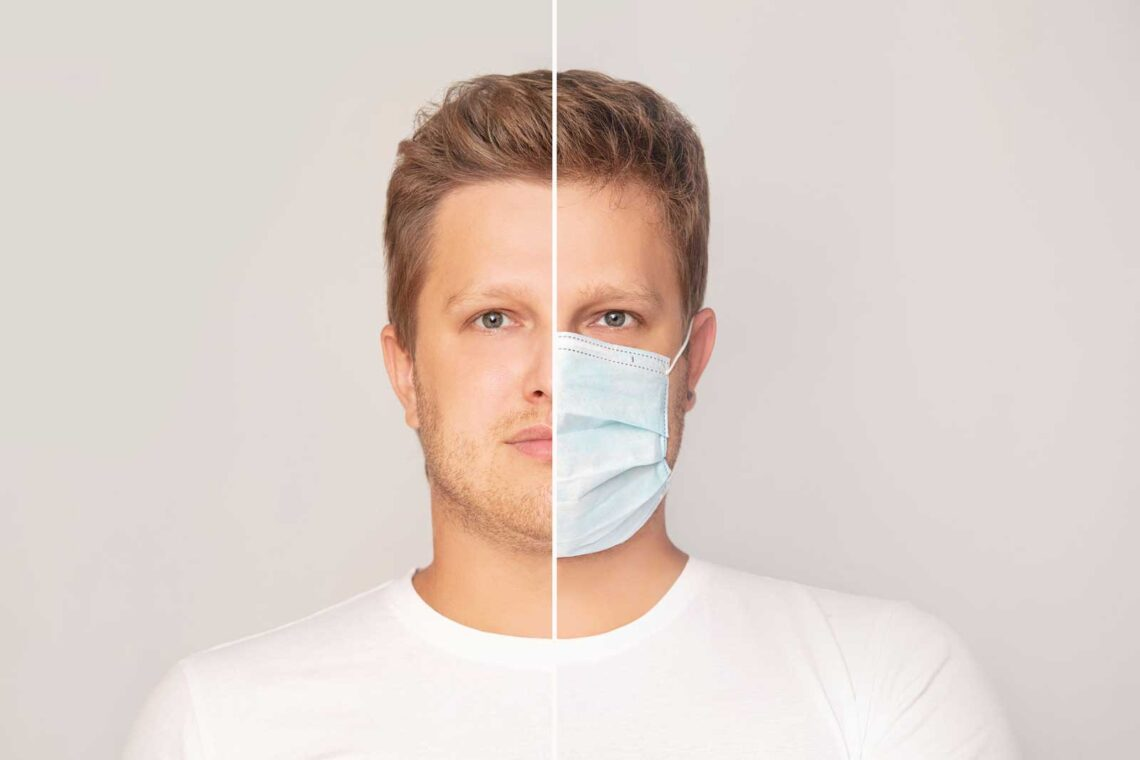photo of man's face with and without a medical mask