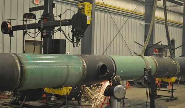 Shop Fabrication has many advantages, including a controlled environment for Bolt's step-by-step process of fabrication, NDE testing, hydro-testing, and finally blast and coating.
