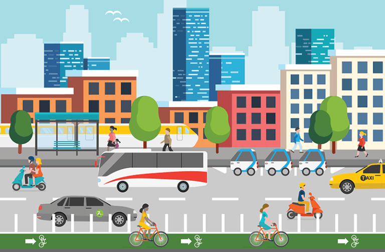 Illustration of a bus, carsharing,light rail, people cycling, people walking, and someone riding a motorized scooter in a complete streets scene.