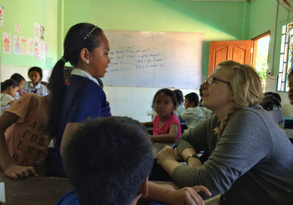 Claire with Child in Classroom