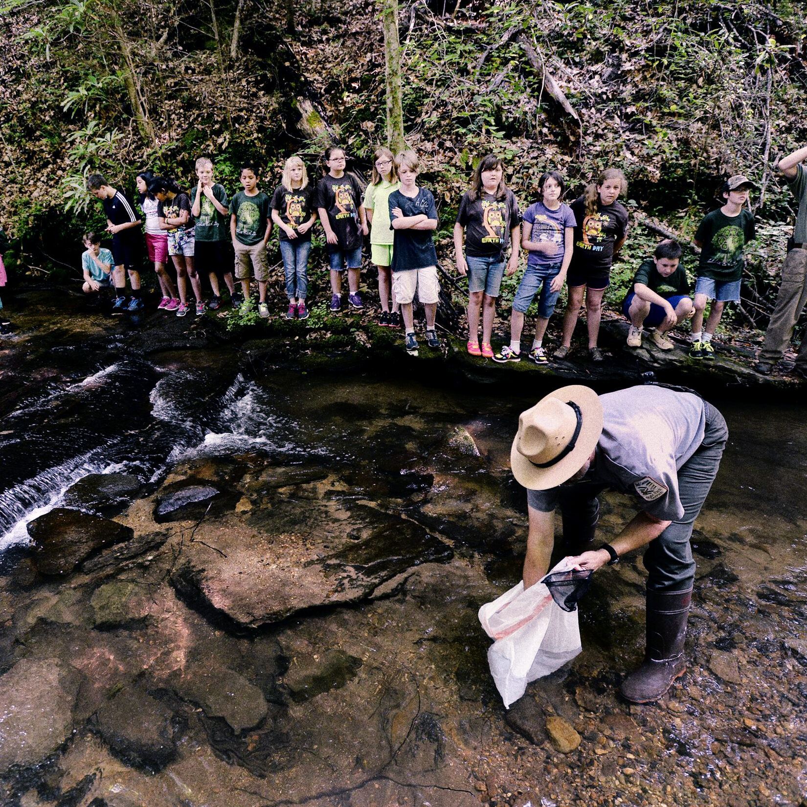 Mini-Grant funded trout release at Caesars Head State Park.