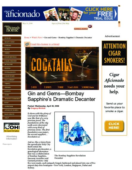 Cigar Aficionado- Bombay Sapphire