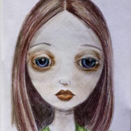 Ginger, colored pencil on vellum, K Hartshorne / K Cook, drawing