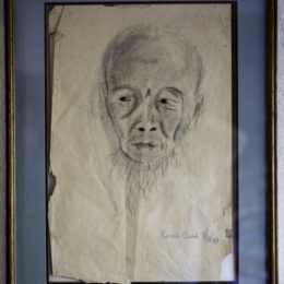 Sage Chinese Man, charcoal on paper, K Cook drawing