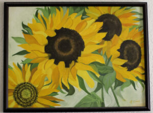 Sunflowers, Oil on Canvas, K Cook painting