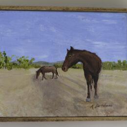 Horses in Tucson Wash, acrylic on canvas, K Hartshorne / K Cook painting
