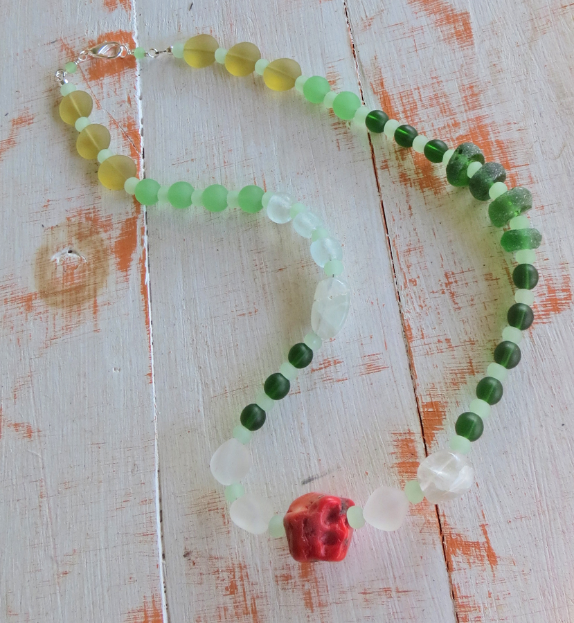 Sea Glass and Coral Necklace