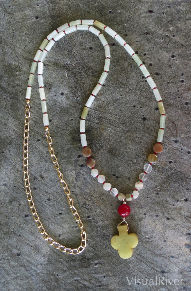 Long Pendant Stone Necklace
