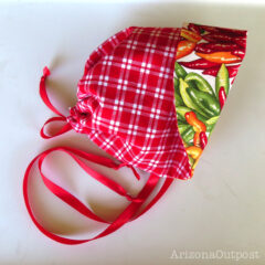 Chili Pepper Baby Bonnet ~ Reversible Red and White Checks