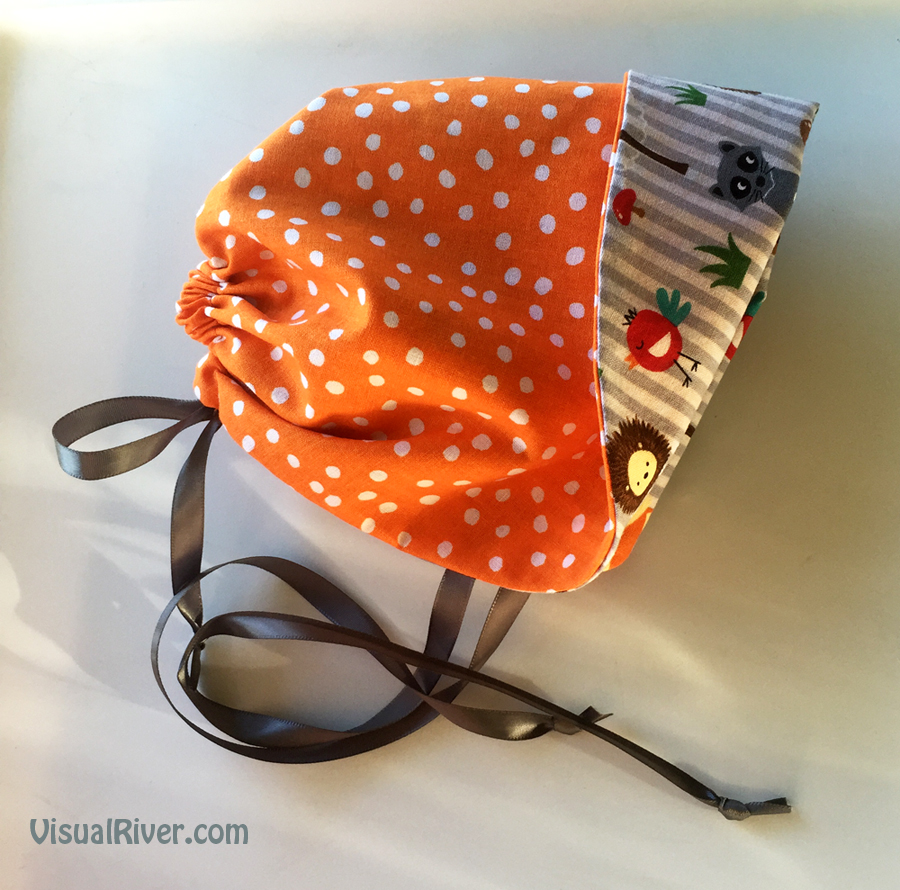 Baby Animals Baby Bonnet Size Large ~ Reversible with Polka Dots