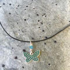 Swarovski Butterfly Pendant Necklace on Leather