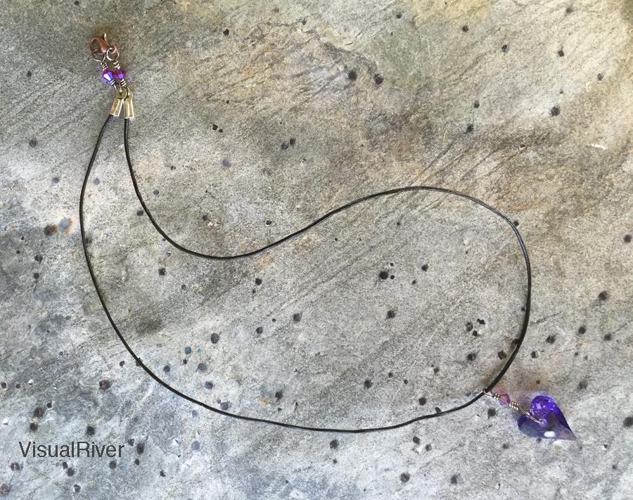 Purple Swarovski Crystal Heart Necklace