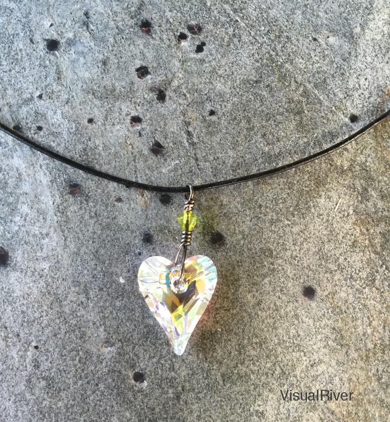 Swarovski Crystal Heart Necklace with Green