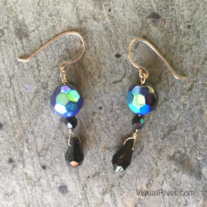 Black Czech Crystal Drop Earrings