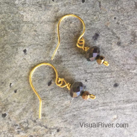 Bronze Sparkle Dangling Earrings