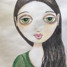 """Mia, colored pencil on archival paper, 14""""x17"""""""