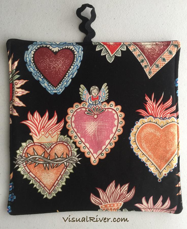 2 Sacred Heart Print Pot Holders ~ 100% Cotton