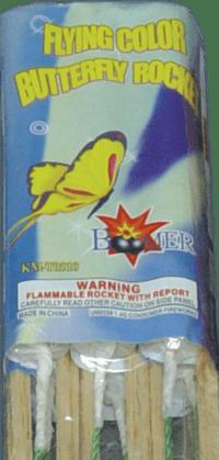 Flying Color Butterfly - Rockets - Bottle Rockets - Stick Rockets - Fireworks